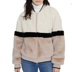 NWT Sanctuary Blockparty Faux Fur Bomber